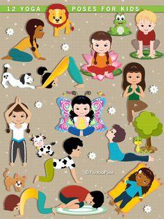 Yoga clipart, Kids Yoga, Meditation, Excercise clipart, Yoga class, Gym practice, heath, fitness clipart