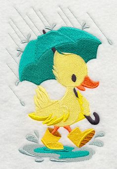 Rainy Day Duck machine embroidery design in two sizes. Free at Embroidery Library for the month of April 2014.