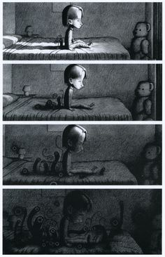 Shaun Tan- Creating thoughts and much more . I'm imagining a child's worst fear coming to life here ,as what lies underneath your bed must surely come out at some point.
