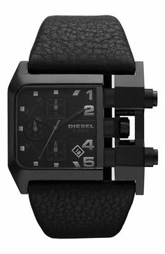 DIESEL® Large Square Leather Strap Watch | Nordstrom