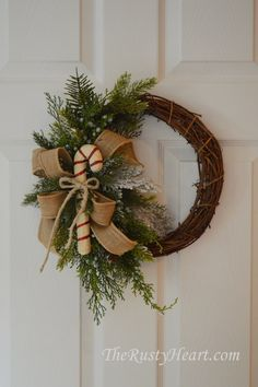 Rustic Christmas Wreath with Candy Cane by TheRustyHeart on Etsy