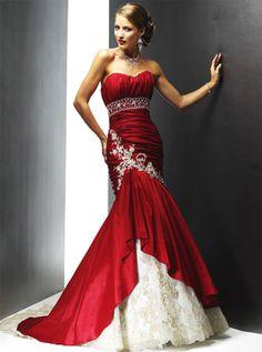 wine-red-wedding-dress.jpg (335×450) hmmm, like the contrast