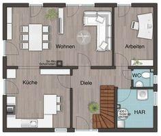 Grundriss Stadtvilla Erdgeschoss, Küche geschlossen, Wohnzimmer Esszimmer separat - Einfamilienhaus Flair 152 RE Town&Country Haus Massivhaus - HausbauDirekt.de