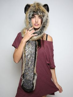 Red Wolf Snakeskin faux fur animal inspired hood (100% Vegan). Unisex (one size fits most).