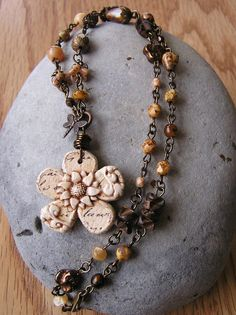 Polymer Clay Flower Necklace by swallowtailjewellery on Etsy, $37.50