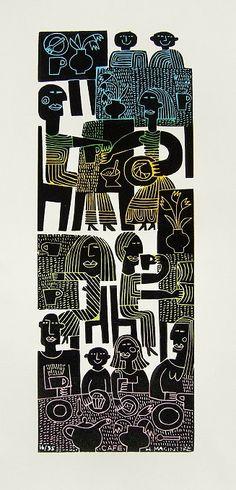 'Café' by German-born Scotland-based artist & printmaker Hilke MacIntyre (b.1964). Linocut, split fountain. via the artist's site