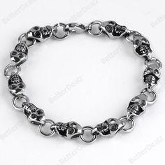 Mens Punk Skull 316L Stainless Steel Link Chain Bracelet