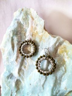 Le Soleil Earrings  Antiqued Brass and SIlver by ZikisInspirations, $17.00