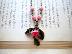 Leaf Pendant with Pink Glass