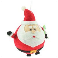 Large felt Santa Christmas tree bauble with a polystyrene interior. 10cm
