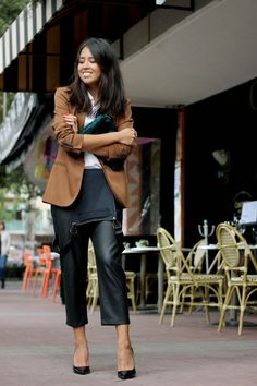 Leather overalls   #streetstyle
