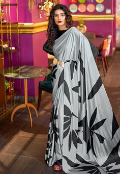 Gray Crepe Saree With Blouse 182376 Western Union Money Transfer, Crepe Saree, Long Cut, Spring Sale, Blouse Online, How To Dye Fabric, Long Blouse, Color Shades, Grey Fabric
