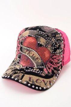 True Love Glitter Heart Rhinestone Bling Baseball Hat Pink Fourever Funky.   24.98 dabd44c0e8d