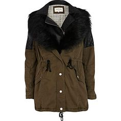Khaki 3 in 1 faux fur parka jacket $200.00