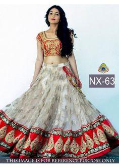 Bollywood Replica - Wedding Wear Red & White Lehenga Choli -  NX-63