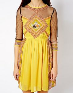 River Island Printed Skater Dress With Mesh Inserts