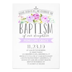 124 best baptism invitations images on pinterest christening baptism invitations rose banner girl baptism invitation purple stopboris Image collections