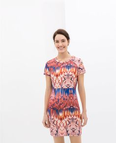 Image 2 of NEOPRENE PRINTED DRESS from Zara