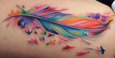 Watercolor Feather with Sparrow Tattoo// Feather Tattoo Ideas// Tattoo Ideas// Watercolor Tattoo Ideas