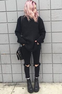 Oversized knitted sweater with black ripped pants & boots by wildfyyyre - Check out these 25 dark grunge looks ideas. featuring Dr Martens boots, fishnet leggings, black shorts, denim jackets & much more! Grunge Look, Mode Grunge, 90s Grunge, Neue Outfits, Edgy Outfits, Cool Outfits, Fashion Outfits, Fashion Boots, Women's Fashion