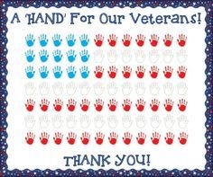 A Hand For Our Veterans! - Veterans Day Bulletin Board Idea Here's another simple bulletin board that would make a great tribute to the men and women in your community that have served in our Armed Forces as well as create a fun cra Preschool Door, Preschool Kindergarten, 1st Grade Crafts, Veterans Programs, Veterans Day Thank You, Hallway Displays, Classroom Bulletin Boards, Classroom Ideas, Toddler Classroom