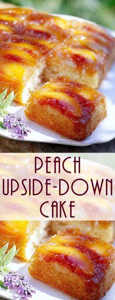 for Peach Upside Down Cake No box cake recipe here. This Homemade Peach Upside Down Cake recipe is just like Grandma used to make!No box cake recipe here. This Homemade Peach Upside Down Cake recipe is just like Grandma used to make! Peach Cake Recipes, Box Cake Recipes, Fruit Recipes, Sweet Recipes, Dessert Recipes, Cooking Recipes, Summer Cake Recipes, Summer Desserts, Köstliche Desserts