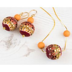 SALE Red Orange Necklace Earrings, Fashion Boho Jewellery, Hipster... ($19) ❤ liked on Polyvore featuring jewelry