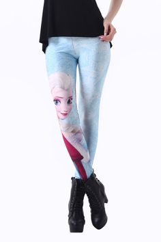 Elsa and Anna Print Snow World Leggings