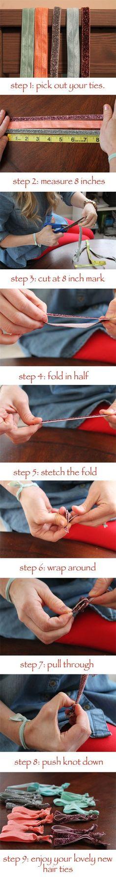 DIY hair ties! make 5 hair ties for only a buck!