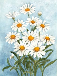 A reproduction of an original watercolor painting ofwhite daisies by Wanda Zuchowski-Schick. It measures 6 x 9 and is shipped unmatted and unframed. The artwork can easily be matted and placed in a 11 x 14 frame. The painting with its brilliant color will enhance any rooms decor.