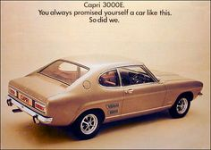 When Ford latched onto the prior success of the Cortina and introduced an E (Executive) version into every model in their range 70s Cars, Cars Uk, Retro Cars, Vintage Cars, Ford Capri, Mercury Capri, Australian Cars, Car Brochure, Ad Car