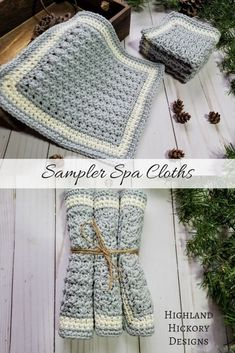 Sampler Spa Cloths - Washcloth - Ideas of Washcloth - Crochet the Sampler Spa Cloths with a free and easy pattern. Three different cloths use the Trinity Suzette and Silt stitch to make a set. Crochet Towel, Crochet Dishcloths, Love Crochet, Crochet Stitches, Crochet Baby, Knit Crochet, Washcloth Crochet, Crochet Blankets, Chrochet
