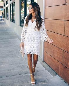 Shower Dress For Bride, White Bridal Shower Dress, Bridal Shower Attire, White Long Sleeve Dress, Short Lace Dress, White Dress, Dress Red, Dress Black, Rehearsal Dinner Outfits