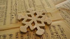 Shabby Chic Glass Glitter Snowflake Ornament. $8.00, via Etsy.
