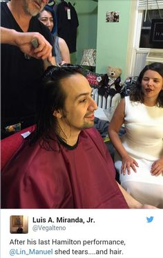 Lin Cutting his hair as soon as his last performance was over.
