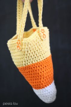 This sweet little Crocheted Candy Corn Bag is a free Halloween crochet pattern that works up quickly and is perfect for trick or treating!
