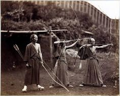 Three archers, Japan , ca.1860-1900