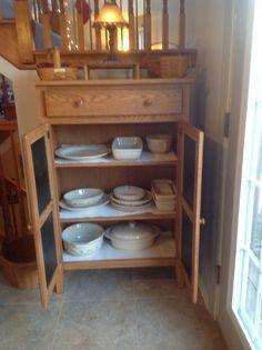 New pie safe with Longaberger Pottery