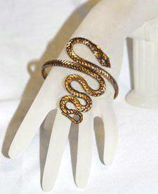 JAFAR Twisted Serpent Snake Armband Upper Arm Bracelet  - GOLD