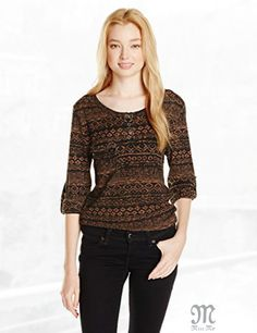 Miss Me Juniors Soft Tribal Print Top with Front Zip Detail