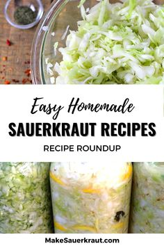 35 of the best homemade sauerkraut recipes. Learn how to make your own sauerkraut at home.Tantalize your taste buds and add probiotics to your meals. Fermented foods for gut health. #vegan Homemade Sauerkraut, Sauerkraut Recipes, Fermented Cabbage, Fermented Foods, Kimchi Recipe, How To Make Homemade, Recipes For Beginners, Gut Health, Taste Buds