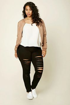 Forever 21+ - A pair of mid-rise skinny jeans featuring allover distressing, a five-pocket construction, and a zip fly.