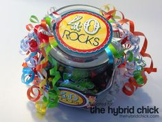 40 Rocks! Birthday Gift – with Free Printable!  http://www.thehybridchick.com/2013/06/40-rocks-birthday-gift-with-free-printable/