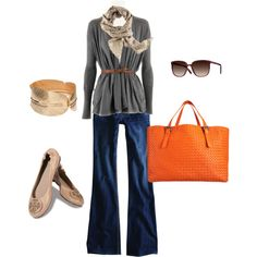 belted cardigan & flares with ballet flats & accessories...i dig it.