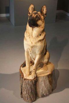 Nice German Shepherd wood carving.