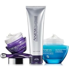 A $82 value, the collection includes: • Anew Platinum Eye & Lip Cream - formulated to resculpt the look of skin's youthful contours. 0.5 oz. net wt. a $36 value• Anew Platinum Cleanser - milky lotion formula. Gently cleanses. Suitable for sensitivie skin. 4.2 fl. oz. a $10 value • Clinical Skinvincible Deep Recovery Cream - the antidote to the look of environmental age damage. Use PM as your night moisturizer. 1 oz. net wt. a $3...