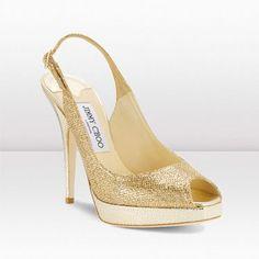 Jimmy Choo Clue Gold Glitter Fabric Platform Slingbacks JCS3003