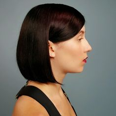 Sleek, shiny black cherry Eclipting hair color by Aveda Artist Jimmy Girgenti. Aveda hair color formula in comments.