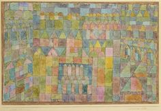 Paul Klee (1879-1940), Tempelviertel von Pert (Temple Area of Pert), 1928 (200). Watercolour, pen and ink on gypsum and lacquer-based gauze on cardboard, bordered with gouache, bordered with pen and ink, border strip at the bottom with ink. 27.5cm H x 42cm W. (Sprengel Museum Hannover)