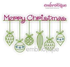 Merry Christmas Ornaments - 5 Sizes! | Christmas | Machine Embroidery Designs | SWAKembroidery.com Embroitique